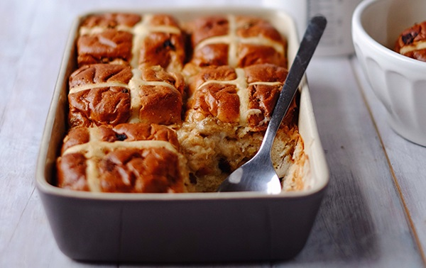 recipe image Hot Cross Bun Bread & Butter Pudding