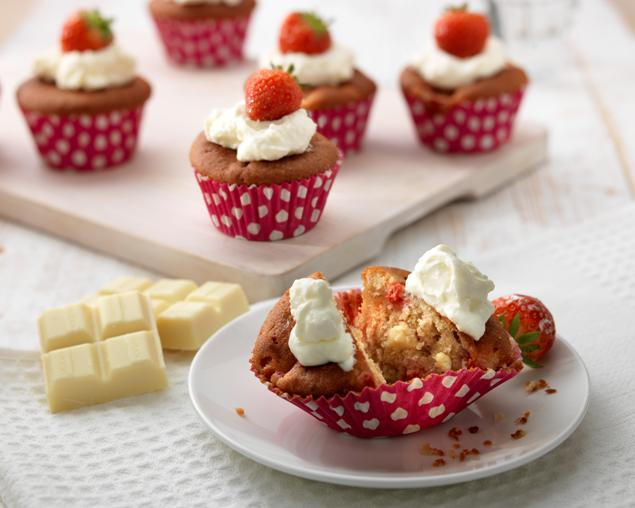 recipe image White Chocolate and Strawberry Cupcakes