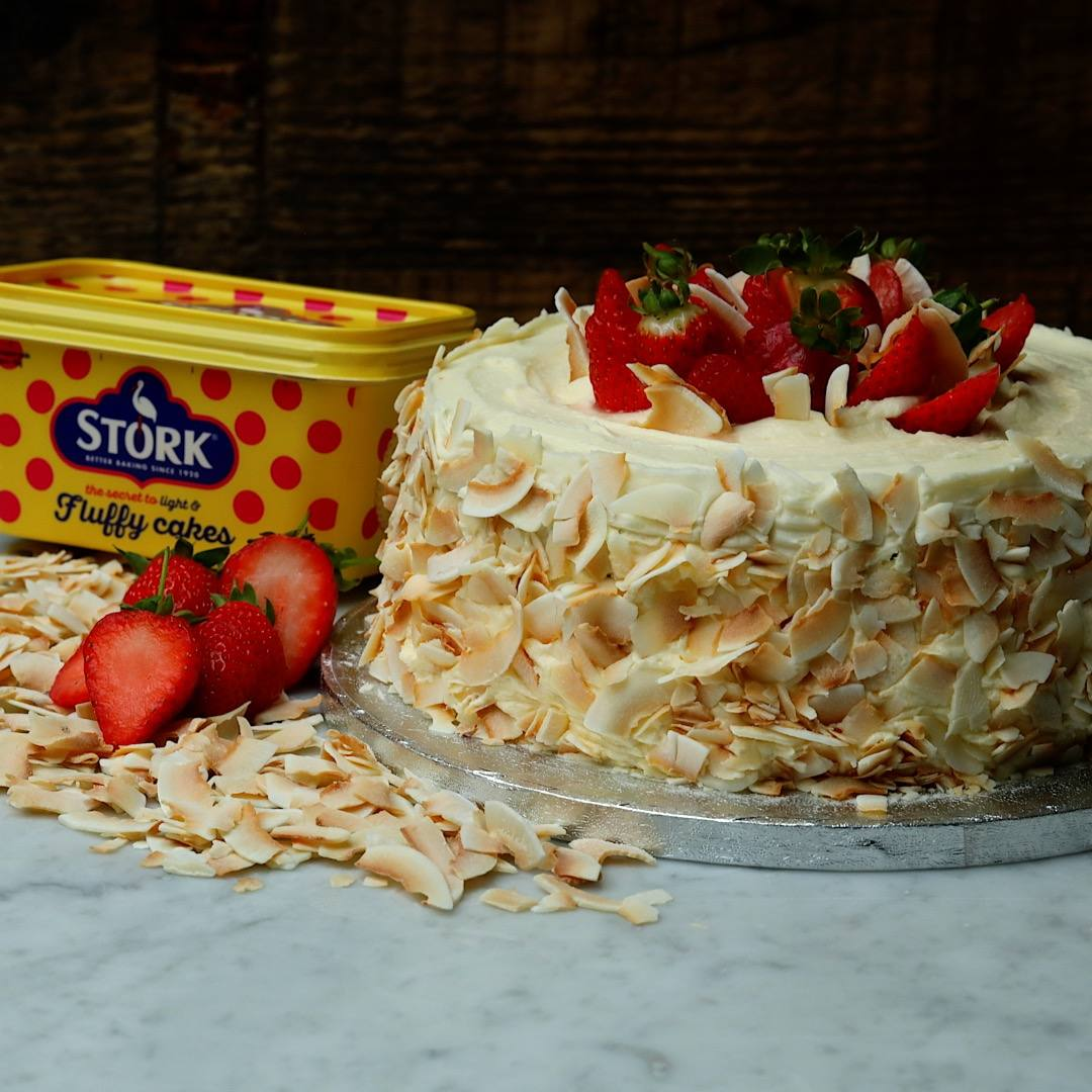 recipe image Strawberry & Coconut Sponge Cake