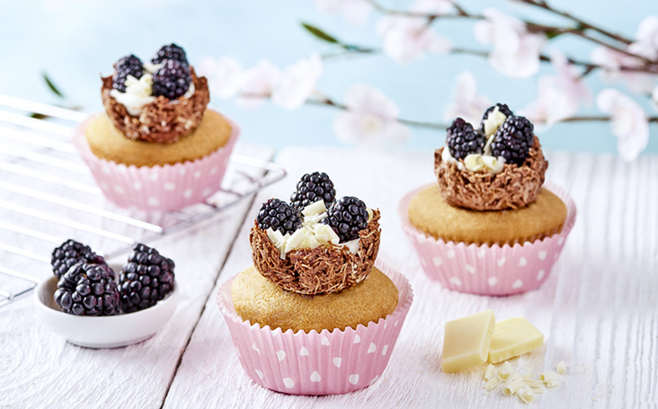 recipe image Easter Nest Blackberry Cupcakes