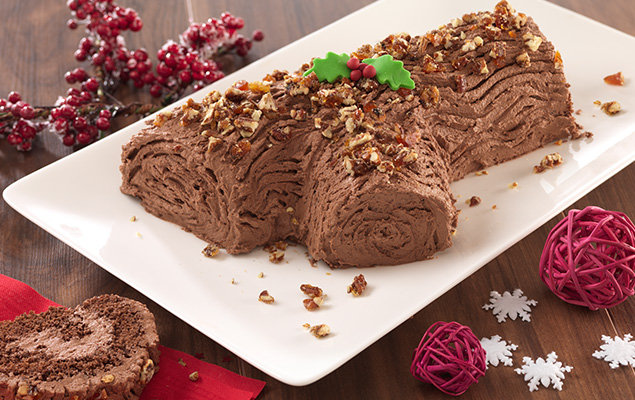 recipe image Salted Pecan Praline Yule Log