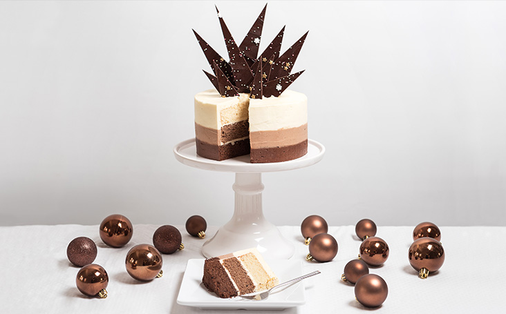 recipe image Christmas Chocolate Ombre Cake