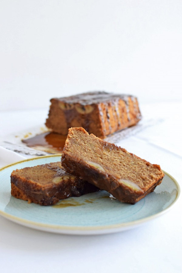 recipe image Vegan Banana Bread with Sticky Toffee Sauce