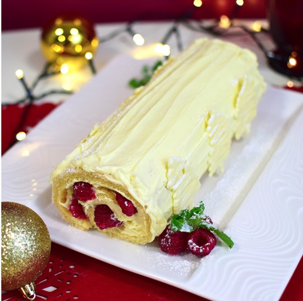 recipe image White Chocolate and Raspberry Log